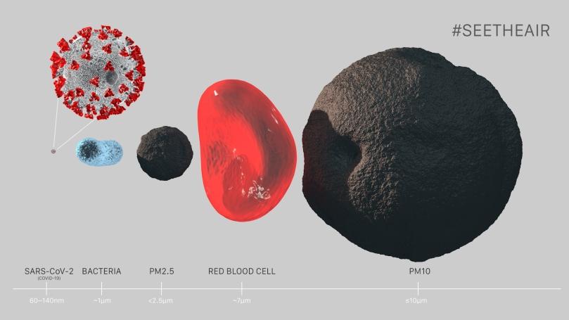 Comparison  Particulate matter vs virus