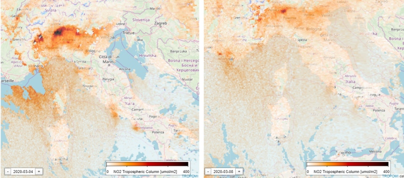 Italy air pollution before after covid19